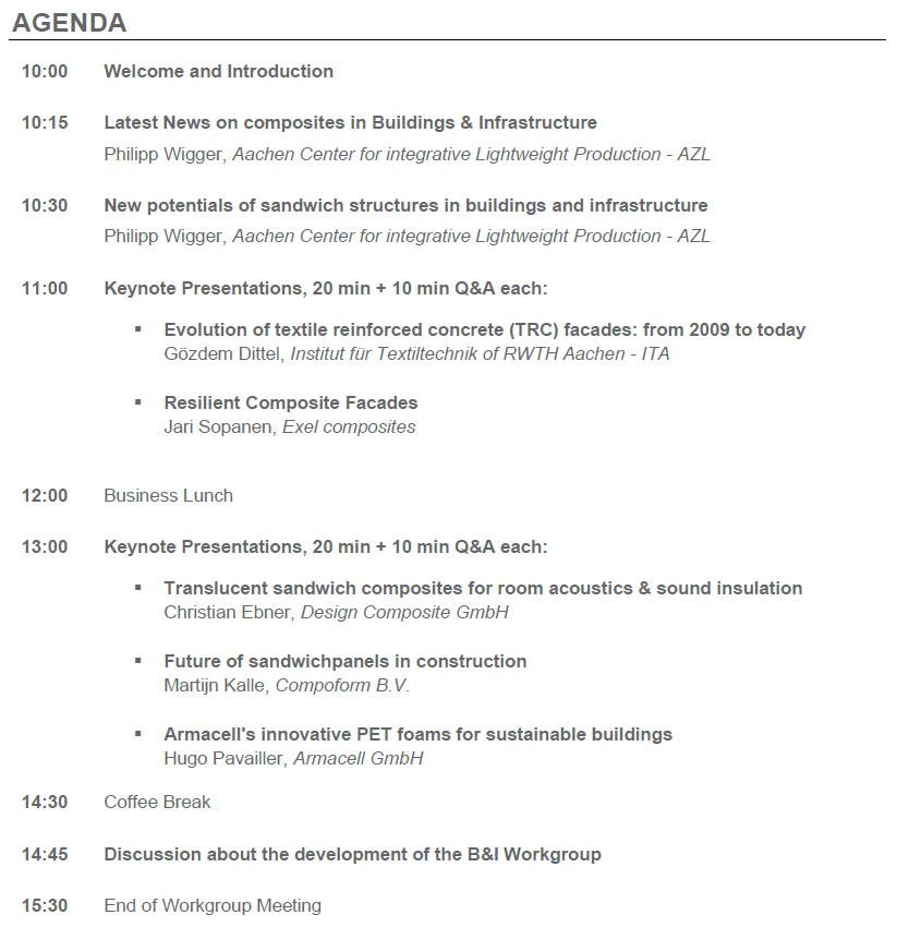 Agenda B&I Workgroup AZL